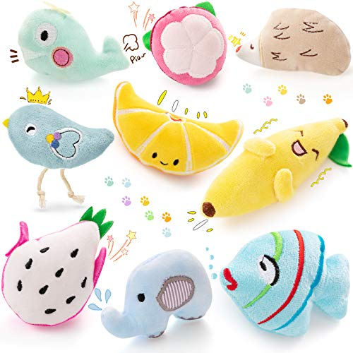Skylety 9 Pieces Catnip Toys Plush Interactive Cat Toys Cute Cat Entertaining Toys New Year Catnip Cat Toys Set for Pet Kitten Cat Playing Chewing Grinding Claw and Teeth Cleaning