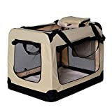 dibea Hundetransportbox Hundetasche Hundebox Faltbare Kleintiertasche Größe M Farbe Beige