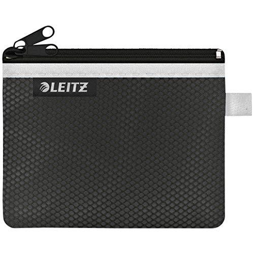 Leitz WOW Traveller Zip-Beutel mit 2 Fächern, Leichtläufiger Reißverschluss, Abwaschbar, Ideales Nylon-Portemonnaie, Größe S, 14 x 10,5 cm, Schwarz, 40110095