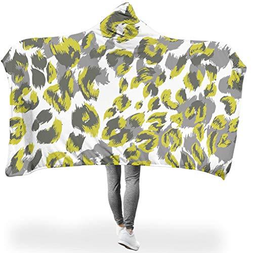 O2ECH-8 Draagbare deken, originele deken met capuchon, luipaardenkorrelpatroon, bedrukt, hooded blanket, lichtgewicht, gezellige deken, geschikt voor wintergeschenk