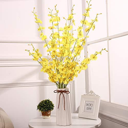 Dansende Orchidee Simulatie Nep Bloem Set Europese Droog Boeket Woonkamer Eettafel TV Kast Versierd met Orchidee Orchidee Dansende Orchidee 6 takken en hoge 24cm origami vaas