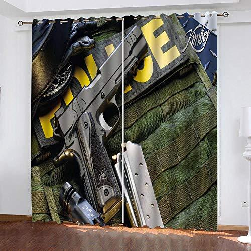LOVEXOO Vorhang Blickdicht Gardinen Wohnzimmer - Kugelsichere Weste B168 x H229cm Thermo Gardinen Blickdicht Vorhänge für Sichtschutz & Sonnenschutz Ösenvorhang, 2 Stück