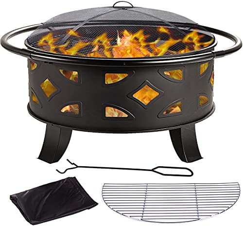 OOX Fire Pit, 36'' Fire Pit Outdoor Wood Burning Steel BBQ Grill Firepit Bowl with Mesh Spark Screen...