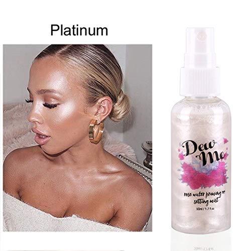 Spray De Maquillage, Maquillage Surligneur Pour Visage/Corps, Rose Liquide Hydratant Shimmer Setting Spray Pour Avant et Après le Maquillage Par KISSION (Platinum)