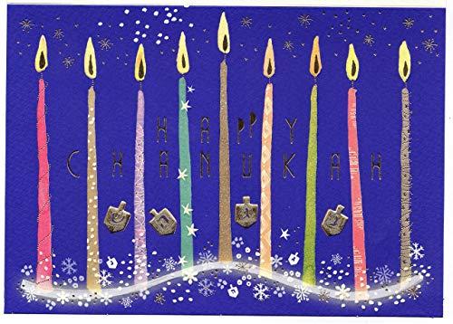 Happy Chanukah Grußkarte - חנוכה - hochwertige Chanuka Karte, original von Turnowsky (est. 1940 in Israel) mit bunten Kerzen