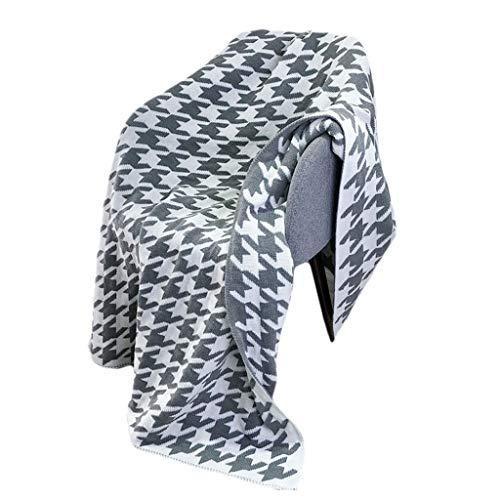 LiuQianBath Manta de Punto Lanza súper Suave Pata de Gallo Decorativo Manta Tejida mullida Manta for la Cama del sofá del sofá de la Cubierta Mantener Caliente (Color : Gray, Size : 120 * 180cm)