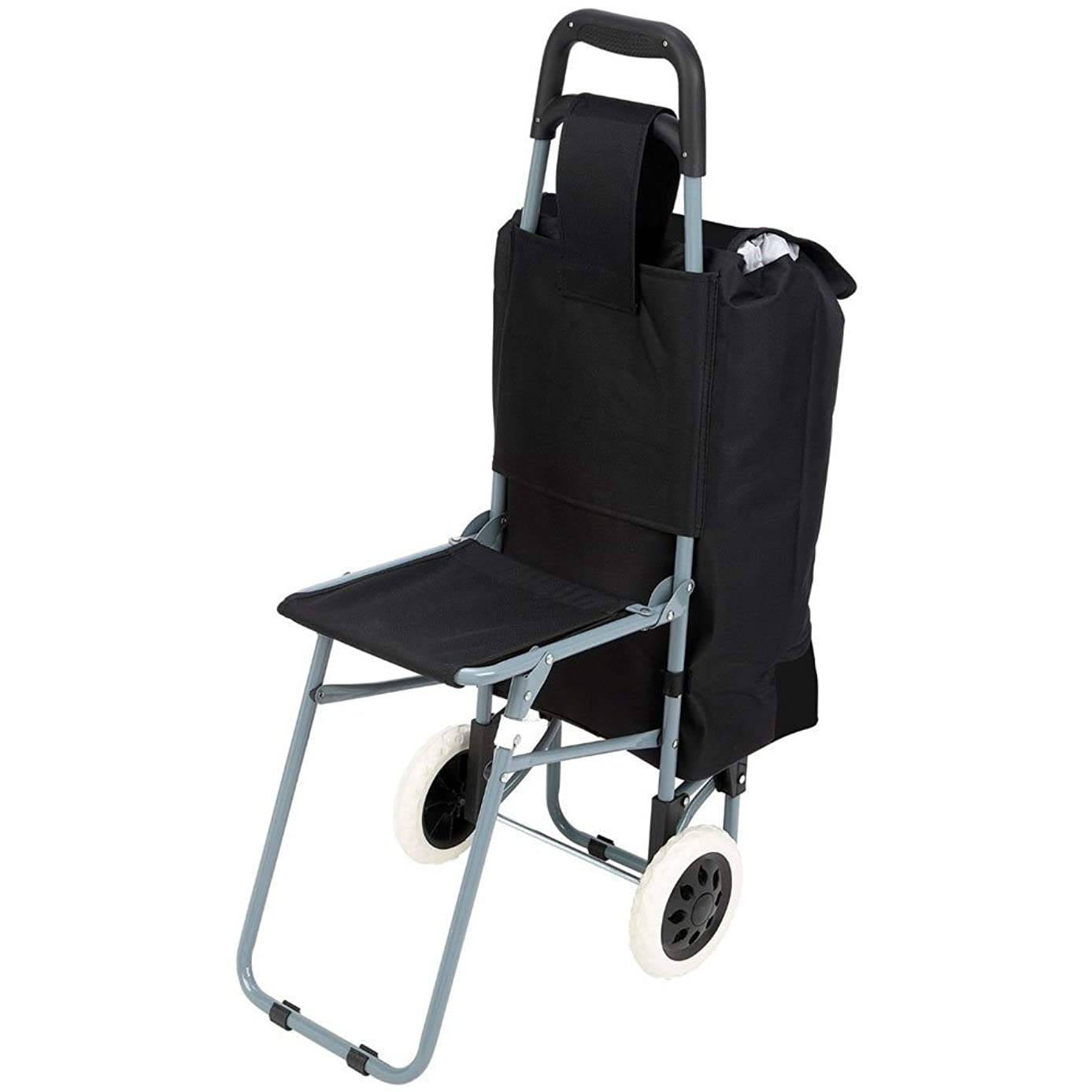 Maxam Trolley Bag with Folding Chair, Black