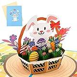 Sethexy 3D Carte di Pasqua Apparire Biglietti di ringraziamento Schede e buste vuote Vintage Biglietti di auguri di compleanno per tutte le occasioni per Amici Famiglia Bambini (C)