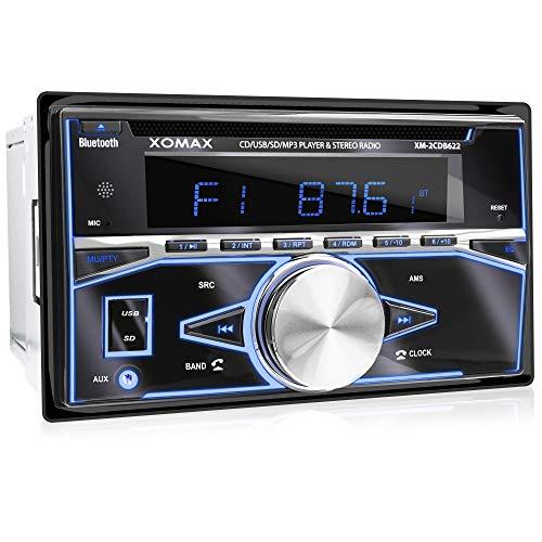 XOMAX XM-2CDB622 Radio de coche con Lector CD, Bluetooth, USB, SD, AUX I 7 ajustables colores de iluminación: azul, rojo, amarillo, morado, rosa, verde, blanco, turquesa I Salida de subwoofer I 2 DIN
