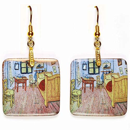 Pendientes de porcelana para mujer – La habitación de Van Gogh – hechos a mano en Sicilia