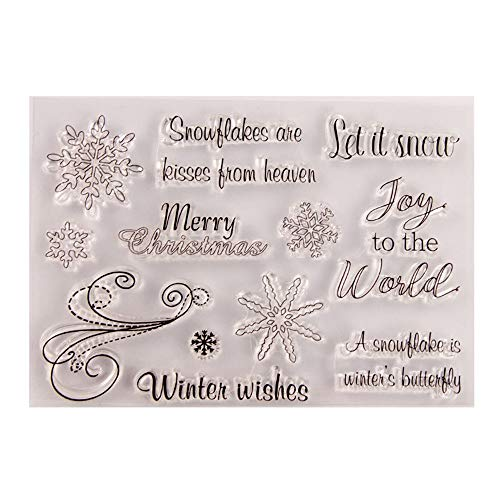 Merry Christmas Christmas Snowflakes Joy to the World Christmas Greetings Sentiment Clear Stamps for Card Making Decoration and DIY Scrapbooking