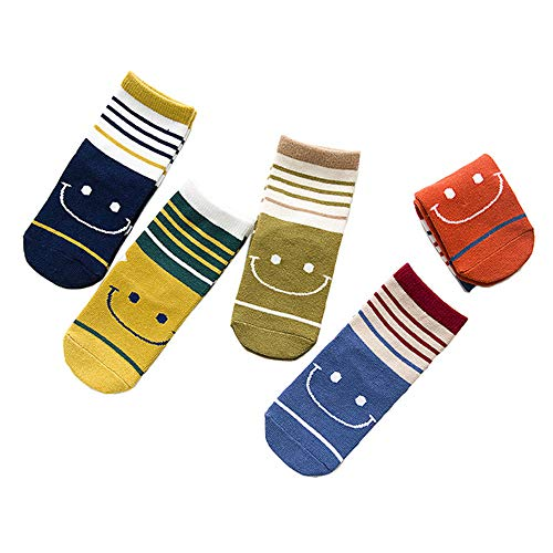 FQIAO Children Socks 1-3 Years Cotton 5 Packs Stripe Colorful Boy Girl Thick Sock S Size Winter Autumn
