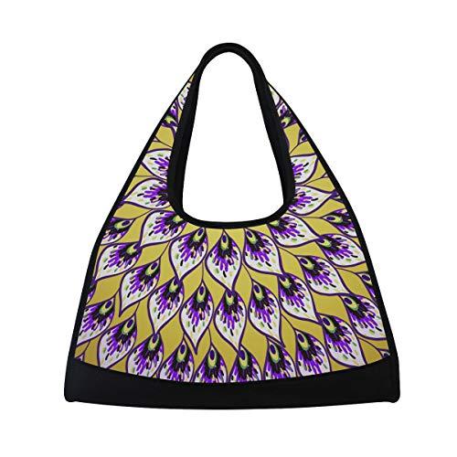 TIZORAX Bolso de viaje abstracto de plumas de pavo real bolsa de deporte gimnasio bolsa de hombro