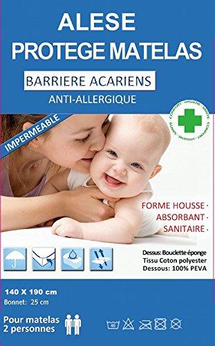 Bng Matrasbeschermer, 60 cm - 90 cm - 140 cm - 160 cm - 180 cm, mijtdicht, anti-allergisch, kussenslopen 140 X 200