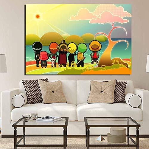 KWzEQ Anime Hintergrund Poster drucken Leinwand Malerei Wandbild Moderne Wandbild Wohnzimmer Hauptdekoration,Rahmenlose Malerei,60x90cm