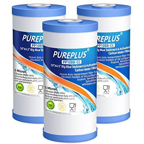 """PUREPLUS 5 Micron 10"""" x 4.5"""" FXHTC Whole House Big Blue Sediment and Activated Carbon Water Filter Replacement Cartridge for GE GXWH40L, GXWH35F, GNWH38S, RFC-BBSA, WRC25HD, RFC-BB, PP10BB-CC, 3Pack"""