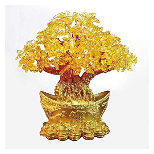ZNYD Extra Grande Golden Natural Citrino Lucky Money Tree Cash Cow CAU Cabra DE Negocios Nuevo CASA DE Registro DE REGO DE REGOTE DE ARCESA DE ÁRBOL DE LA ESCULACIÓN (Talla : 18cm)