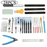 BXQINLENX Professional 28 PCS Gundam Model Tools Kit Modeler Basic Tools Craft Set Hobby Building Tools Kit for Gundam Car Model Building Repairing and Fixing(O)