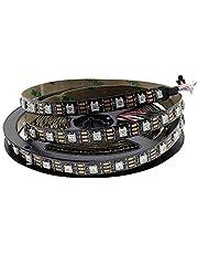 Hntoolight SK6812 WS2812B RGB 60 LED Strip Adresseerbare LED Strip Individuele Smart LED Strip Zwart PCB Geen Waterdichte DC5V 5m IP30
