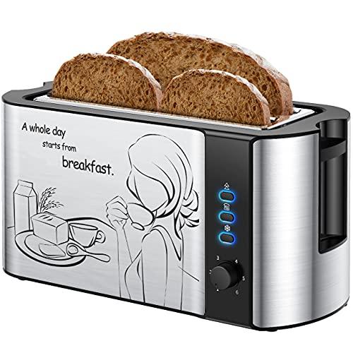 Toaster 4 Scheiben, Toaster, Toster 4er Langschlitz mit Brötchenaufsatz, 2 Extra Breite Toastschlitze Toster, Toaster Langschlitz mit 6 Einstellbare Bräunungsstufe, 1500W Edelstahl Toaster, Silber