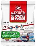 Bolsas de almacenamiento al vacío, paquete de 8 (4 grandes (100 x 80 cm) + 4 medianas (80 x 60 cm) | Reutilizables con bomba de mano gratis para embalaje de viaje.