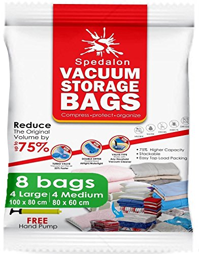 Vacuum Storage Bags - Pack of 8 (4 Large + 4 Medium) Reusable Space Savers with Free Hand Pump for Travel Packing - Best Seal Bags for Clothes, Comforters, Pillows, Curtains, Blankets