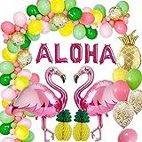 AcnA Decoración Hawaiana Cumpleaños Globos Decoración Fiesta Hawaiana con Flamenco de piña Globos de Foli, Garland Bunting para Luau Fiesta Decoraciones de Verano de la Selva