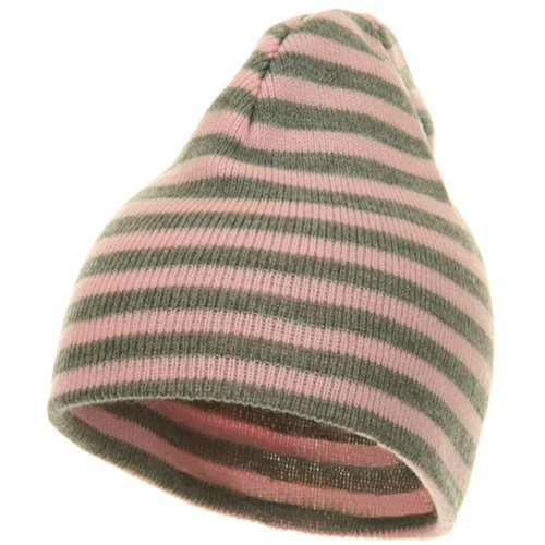 Artex Trendy Striped Beanie - Pink Grey OSFM