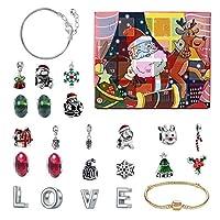 Bhuuno ブレスレットアドベントカレンダー2020クリスマスサプライズボックスDIYビーズチャームペンダント - スタイルc
