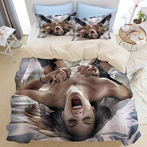 PONIKUCY Bedsure Bettwäsche 135x200cm,Heiße Lederhose sexy Mädchen Muster,microfaser Bettbezüge Kissenbezug 2(50x80cm)