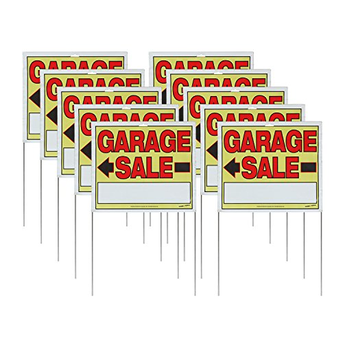 Sunburst Systems 3905 Assembled Garage Sale Signs, 10 ct, Yellow, Red, Black