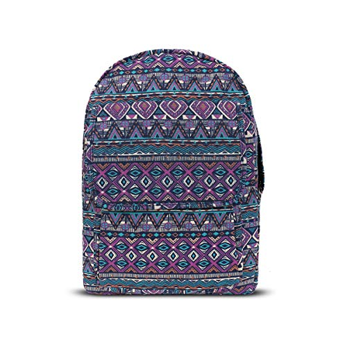 Women and Girls Multicolored Backpack with Purple Base Color, with Aztec Pattern Flap Zipper Pockets, Wide Back Adjustable Straps and a Handle