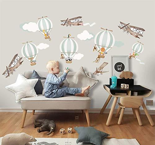 Murwall Kids Wall Decal Hot Air Balloon Wall Sticker Peel and Stick Vintage Aircraft Wall Stick