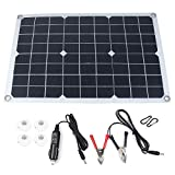 Cobeky Kit de panel solar portátil de 20 W y 12 V con pantalla LCD de 10 A controlador de carga solar fuera de la red, módulo monocristalino