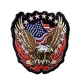 WT-DDJJK Parche de Bicicleta Punk Rock con Insignia del ejército de águila Americana, Parche de Motociclista Bordado Grande, Parche para Ropa de Motocicleta