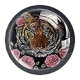 Bennigiry Möbelknöpfe, 30 mm, Stickerei, bunte Blumen, japanischer Tiger, Kristallglas, für Küche, Schrank, Kommode, Kleiderschrank, etc.