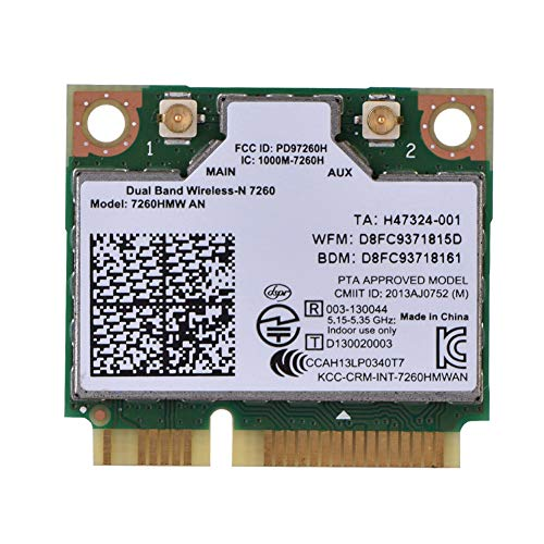 Yunir Für Intel 7260AN 7260HMW Mini PCI-E 300 Mbit/s Bluetooth 4.0 2,4 G/5 G Dualband-WLAN-WLAN-Karte für Desktop, All-in-One-Gerät, Notebook