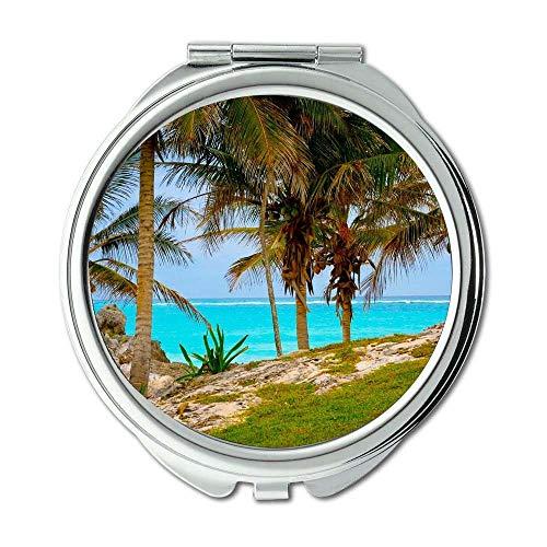 Yanteng Spiegel, Compact Mirror, Strand klares Wasser Küste, Taschenspiegel, Tragbare Spiegel