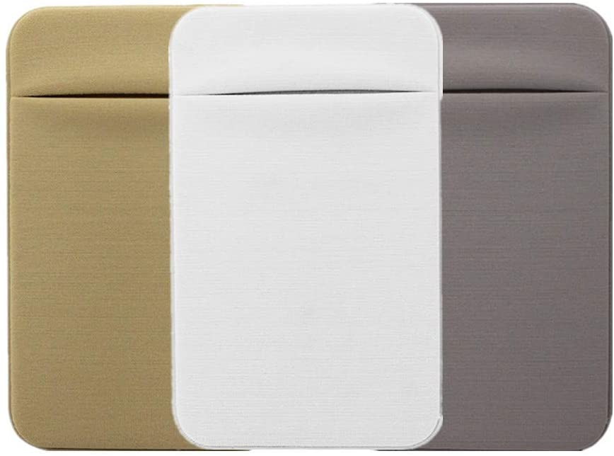 Kbinter Slim Credit Card Holder for Back of Cell Phone, Stretchy Ultra Lycra 3M Self Adhesive Phone Pocket Stick On Wallet for ID Credit Card Pocket for iPhone Android Galaxy (Gold+White+Gray)