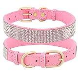 Beirui Collar de perro con diamantes de imitación con cristales brillantes, collar de cuero de gamuza suave para cachorros de gato pequeño, lindo collar tachonado diamantes brillantes (rosa, XS)