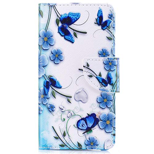 Surakey kompatibel mit Motorola Moto G6 Plus Hülle,Moto G6 Plus Lederhülle Tasche Leder Flip Hülle Brieftasche Etui Schutzhülle Flip Hülle Handytasche für Motorola Moto G6 Plus, Blau Schmetterling