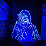 Luz nocturna LED 3D ilusión anime Shigaraki Tomura Lámpara 3D My Hero Academia LED Night Light for boy Kids Bedroom Decor Shigaraki Tomura Birthday Gift Table Lámpara de Navidad 7 Color Touch