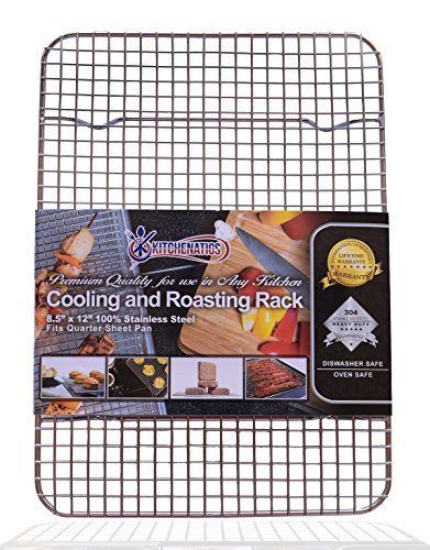 KITCHENATICS Commercial Grade 100% Stainless Steel Cooling Rack Thick-Wire Grid Fits Quarter Sheet Baking Pan Oven & Grill Safe Rust-Proof for Roasting, Cooking, Baking, BBQ, Heavy Duty -8.5' x 12'