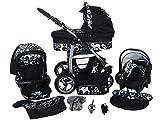 Cochecito de bebe 3 en 1 2 en 1 Trio Isofix silla de paseo D-Deluxe by SaintBaby negro & flores blancas 2in1 sin Silla de coche