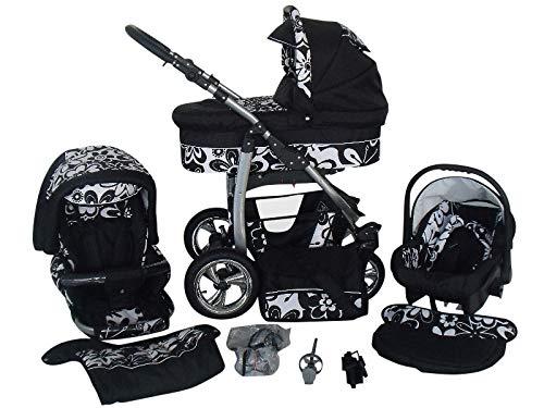 Cochecito de bebe 3 en 1 2 en 1 Trio Isofix silla de paseo D-Deluxe by SaintBaby negro & flores blancas 3in1 con Silla de coche