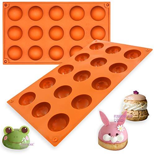 Funshowcase Small 15 Cavity Semi Sphere Half Round Dome Silicone Mold Chocolate Teacake Baking Tray