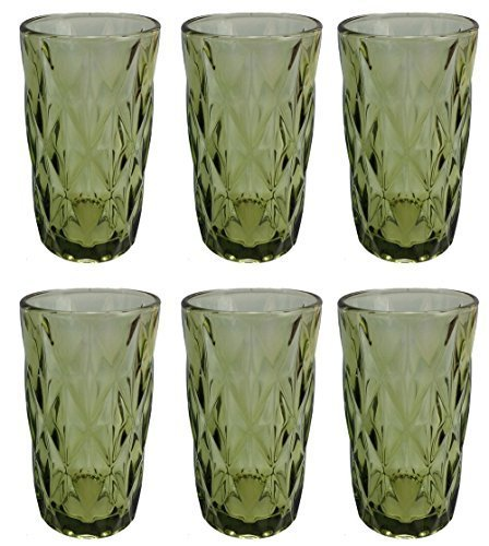 Vintage 6 Teile Set Rombus König Weinglas Glas Gläser Weingläser Wasserglas Longdrinkglas (Trinkglas grün)