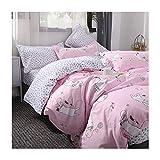 AmDxD Bettlaken, Bettbezug und Kissenbezügen aus Polyester Katze Design 3 Pcs Spannbetttuch Bettwäsche-Sets Rosa