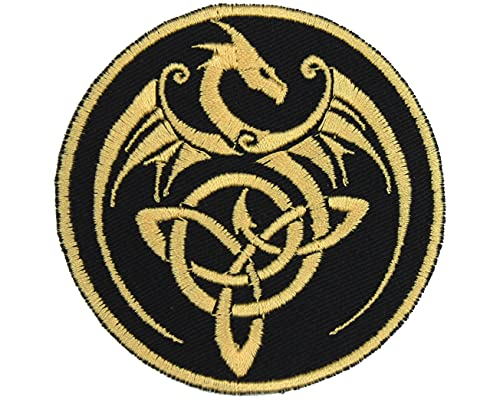 Celtic Knot Dragon Patch Iron On Applique - Black, Nonmetallic Champagne Gold - 3' Round - Made in The USA