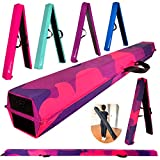 MARFULA 6 FT / 8 FT / 9 FT Folding Gymnastics Beam Foam Balance Floor Beam - Extra Firm - Suede Cover - Anti Slip Bottom with Carry Bag for Kids/Adults Home Use (Pink Purple-Camo, 6 FT)